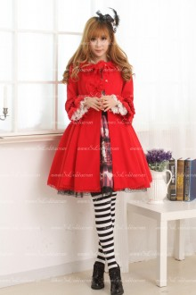 Sweet Slim Red Doll Collar Long Bowknot