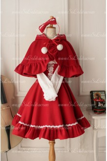 Winter Red Wool Cape High Waist Lolita Coat