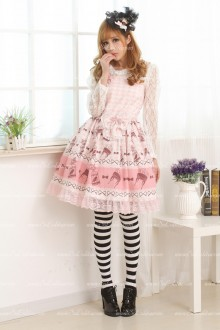 Pink Chiffon Straps Floral Sweet Lolita Dress