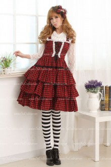 College Style Classic Red and Black Lattice Cake Sweet Lolita Dress