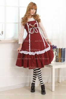 College Style Classic Red and Black Lattice Flouncing Sweet Lolita Dress