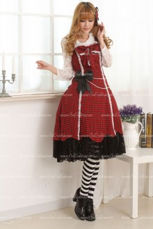 Classic Red and Black Lattice Lace Hem Sweet Lolita Dress