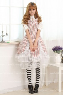 Printed Pinched Waist High Collar Ladies Bowknot Sweet Lolita Dress