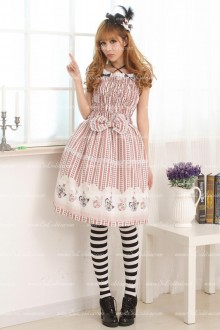 Coffee Square Neck Short Sleeves Bow Sweet Lolita Dress
