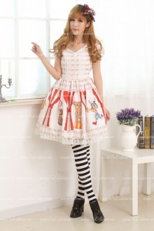 White Heart Collar Short Sleeves Lace Trim Lolita Dress