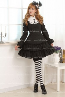 Black Slim Doll Collar Long Sleeves Flouncing Sweet Lolita Dress