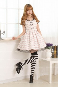 White Floral Black Lace Sweet Lolita Dress