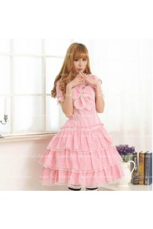 Pink Round Neck Short Sleeves Big Bowknot Sweet Lolita Dress