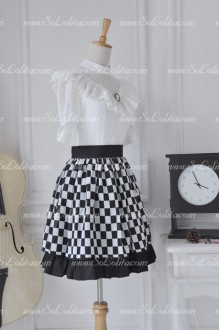 Customized Black and White world Grid Retro Cute Flouncing Lolita Skirt