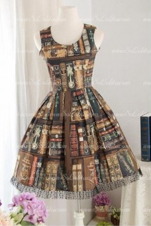 School Style Printed Library Straps Sleeveless Sweet Lolita Dress