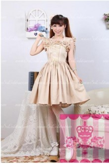 Simple Khaki Slim Ladies Elegant Flounced Sweet Lolita Dress