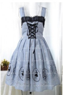 Light Gray Cotton Straps Sleeveless Print Sweet Lolita Dress