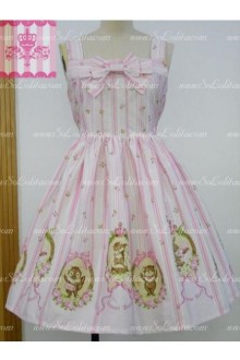 Pink Cotton Straps Sleeveless Bowknot Sweet Lolita Dress