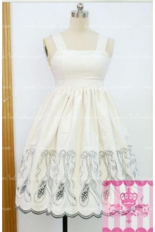 White Cute Princess Ballet Slippers Embroidery Sweet Lolita Dress