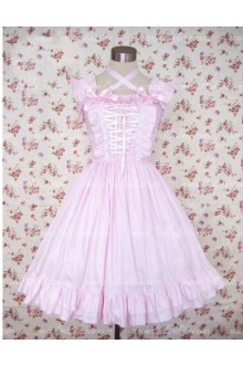 Simple Pink Sleeveless Flouncing Sweet Lolita Dress