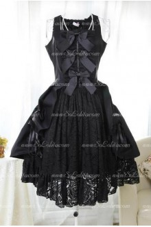 Black Classic Vintage Black Lace Sweet Lolita Dress