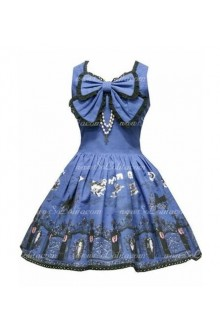 Navy Blue Cotton Round Neck Sleeveless Print Sweet Lolita Dress
