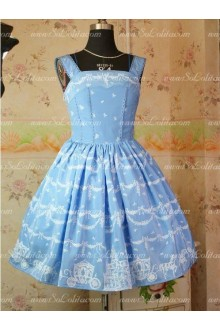 Blue Snow Castle Chiffon and Taffeta Straps Sweet Lolita Dress