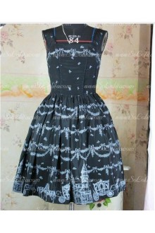 Black Snow Castle Chiffon and Taffeta Straps Sweet Lolita Dress