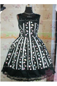 Black Cotton Square Neck Sleeveless Princess Lace Trim Sweet Lolita Dress