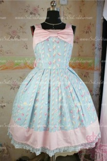 Sky Blue Cotton Square Neck Sleeveless Princess Lace Trim Sweet Lolita Dress