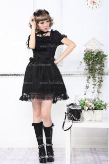 Black Cute Lace Short Sleeves Princess Punk Lolita Dress