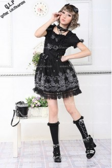 Black 65% Cotton and 35% Polyester Short Sleeves Unique printing Punk Lolita Dress