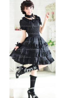 Plain Black Multilayer Flounced Punk Lolita Dress