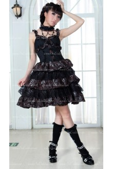 Rose Strap Sundresses Multilayer Cake Punk Lolita Dress with Neck Ring