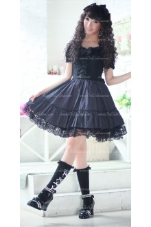 Black Polyester and Chiffon Short Sleeves Wave Point Princess Punk Lolita Dress