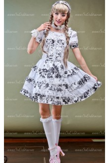Idyllic Style White Short-sleeved Round Neck Floral Punk Lolita Dress