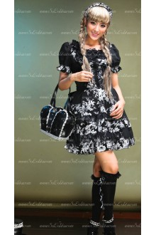 Idyllic Style Black Short-sleeved Round Neck Floral Punk Lolita Dress