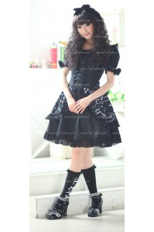 Black Round Neck Short Sleeves Music Note Print Princess Punk Lolita Dress