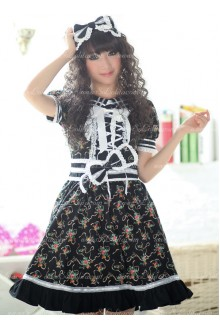 Black Garden Floral Flouncing Punk Lolita Dress