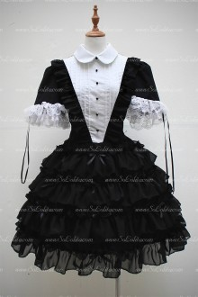Black Cotton Lapel Short Sleeves Lace Hem Sweet Lolita Dress