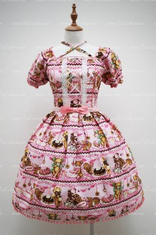 Fairy Pink Square Neck Short Sleeves Bear Printing Sweet Lolita Dress