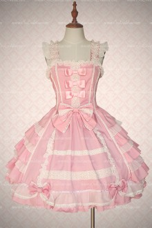 Pink Cotton Multilayer Bowknot Sweet Lolita Dress