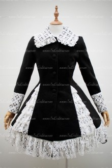 Black Elegant Princess Doll Collar White Lace Hem Long sleeve Lolita Coat
