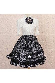 Crown Princess Sweet Flounced Pleated Black Skirt