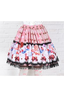 Sweet Pink Lollipops Printing with Black Lace Lolita Skirt