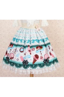Sweet Light Blue Vanilla Ice Cream Lace Lolita Skirt