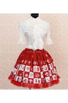 Sweet Princess Alice Chess Red Lattice Skirt Lolita Skirt