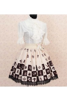 Sweet Princess Alice Chess Chocolate Lattice Skirt Lolita Skirt
