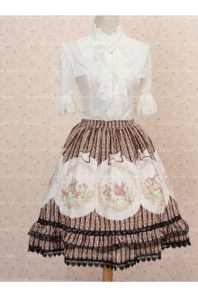 Lovely Girls Striped Easter Bunny and Eggs Lolita Skirt