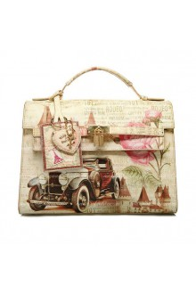 Lolita The Arch Printing Vintage Sports Car PU Handbag