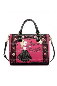 Lolita Pink Hollow Lace Lovely Retro Print Bag