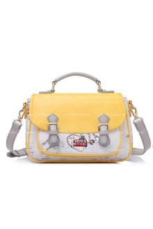 Lolita Vintage Beautifully Printed Yellow Postman Middle Bags