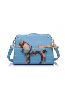 Lolita Fashion blue Sweet Horse Splicing Small Bags