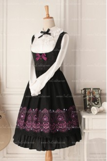 Lolita Gothic Elegant Dark Purple Round Neck Sleeveless Flouncing Breast Care Dress