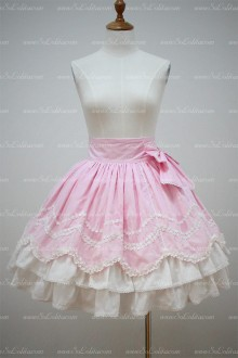 Lolita Pink and White Cotton Lace Trim Multilayer Flounced Sweet Skirt